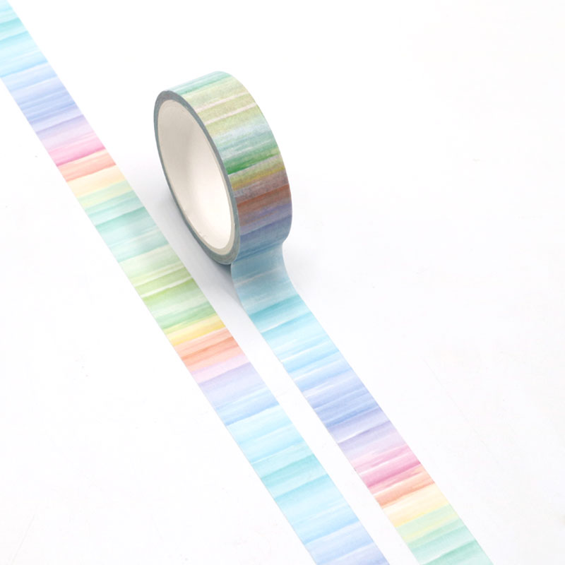 NEW Cute Watercolor Print Rainbow Washi Tape Paper For DIY Planner Scrapbooking Decorative Masking Tape School Office Supplies