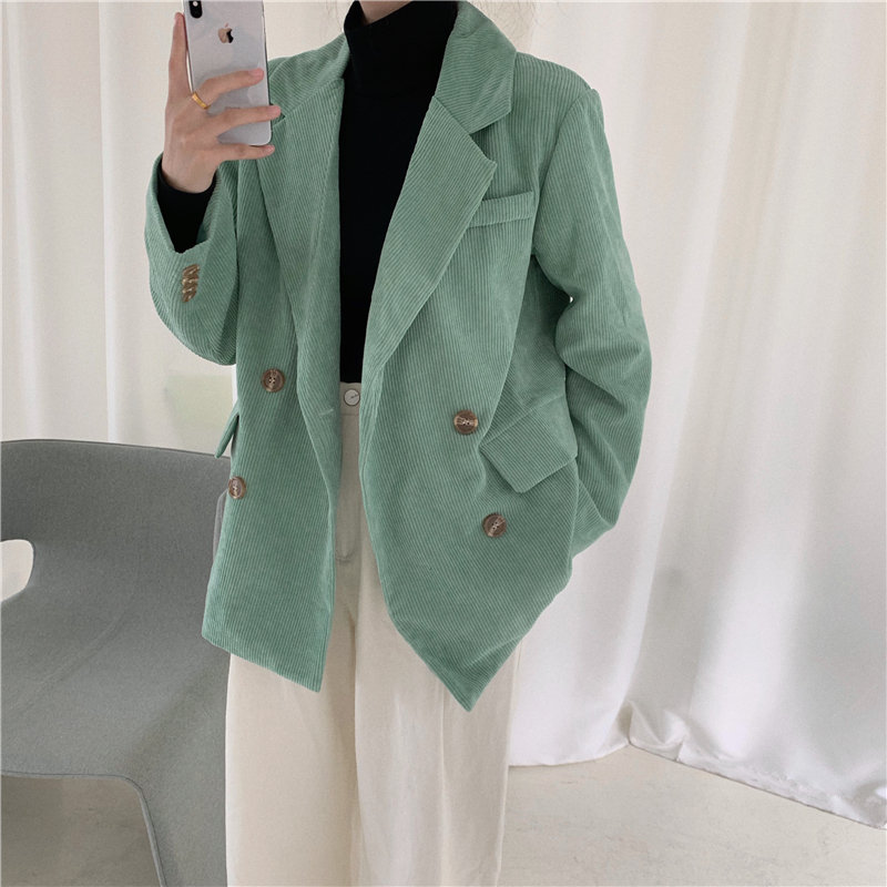 Alien Kitty 2020 Chic All-Match Corduroy New Office Lady Feminine Autumn High Street Stylish Women High Quality Blazers 8 Types