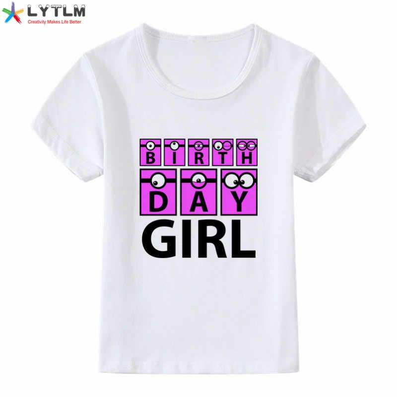 LYTLM Prima Di Compleanno Della Ragazza Tee Shirt Enfant Fille Buon Compleanno Ragazze Magliette e camicette A Maniche Lunghe Del Fumetto T-Shirt Della Ragazza Del Bambino Cadono I Vestiti