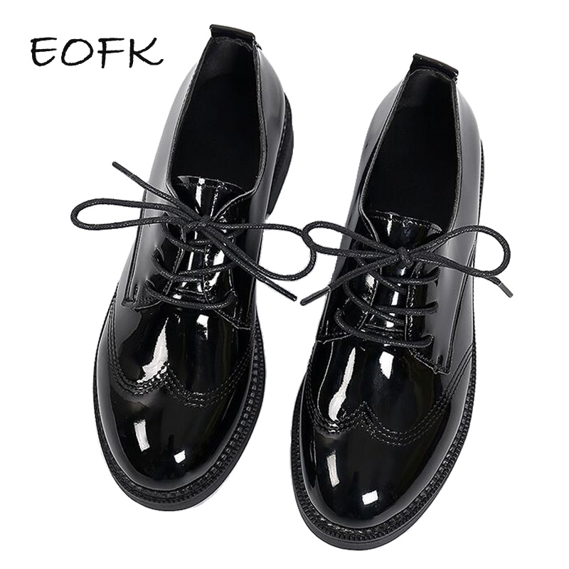EOFK Women Oxford Shoes Woman Flats Autumn Spring Women's Brogue Leather Full Black Flat Office Derby Female Shoes