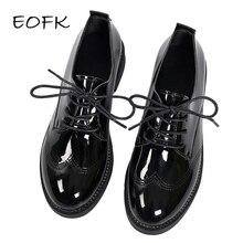 EOFK Women Oxford Shoes Woman Flats Autumn Spring Women's Brogue Leathe