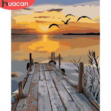Home-Decor Painting-Art By Number Pictures Numbers-River-Kits Huacan-Paint Drawing Canvas
