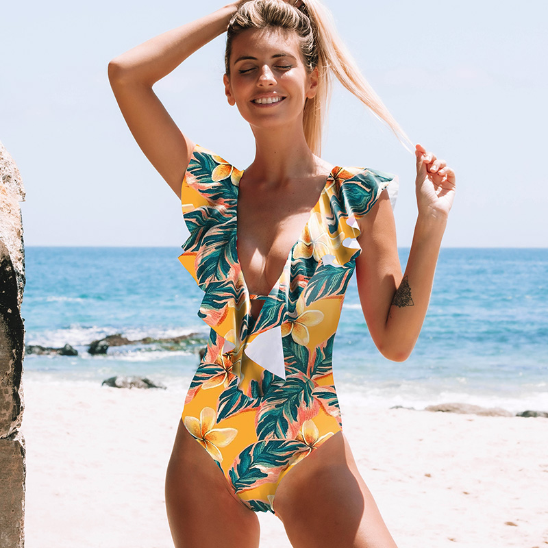 H6324e3dd03c84e788a135be1bdac7fbev - Sexy One Piece Swimsuit Push Up Swimwear Women Ruffle Monokini Adjustable Shoulder Swimsuit Bodysuit Bathing Suit Swim Wear