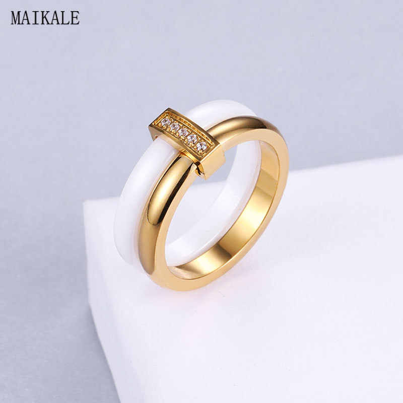 MAIKALE White Ceramic Stainless Steel Rings for Women Gold Silver Color Paved Cubic Zirconia Round Finger Ring Fashion Jewelry
