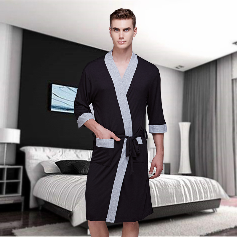 Man Summer Short Sleeve Edge Style Thin Robe Modal Sexy Leisure Home Wear Bathrobe