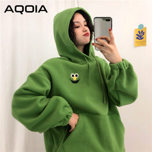 AQOIA Autumn Cartoon Loose Women's Hoodies Sweatshirt Pockets Oversize Embroidered Sweatshirts Women 2019 Winter Clothing