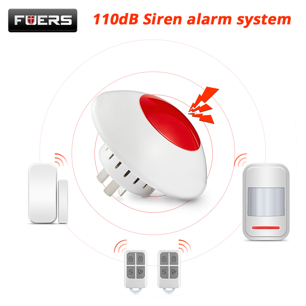 FUERS Wireless Flashing Siren Loud 110dB Siren Alarm 433MHz Horn Red Light Strobe Siren for Home Business Security Alarm System