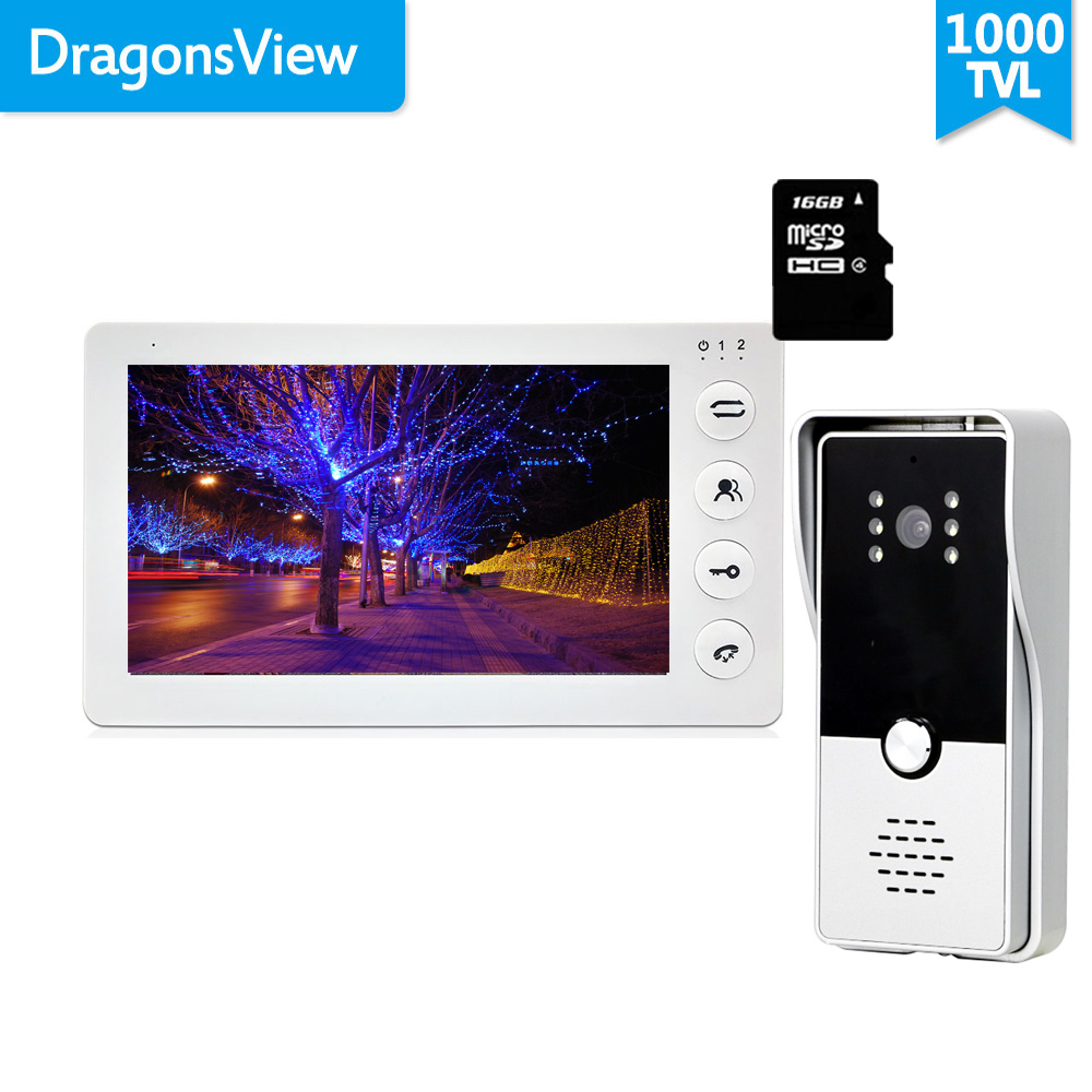 Dragonsview 7 Inch Wired Video Door Phone Doorbell Intercom System Record 1000TVL Motion Detection Unlock SD Card
