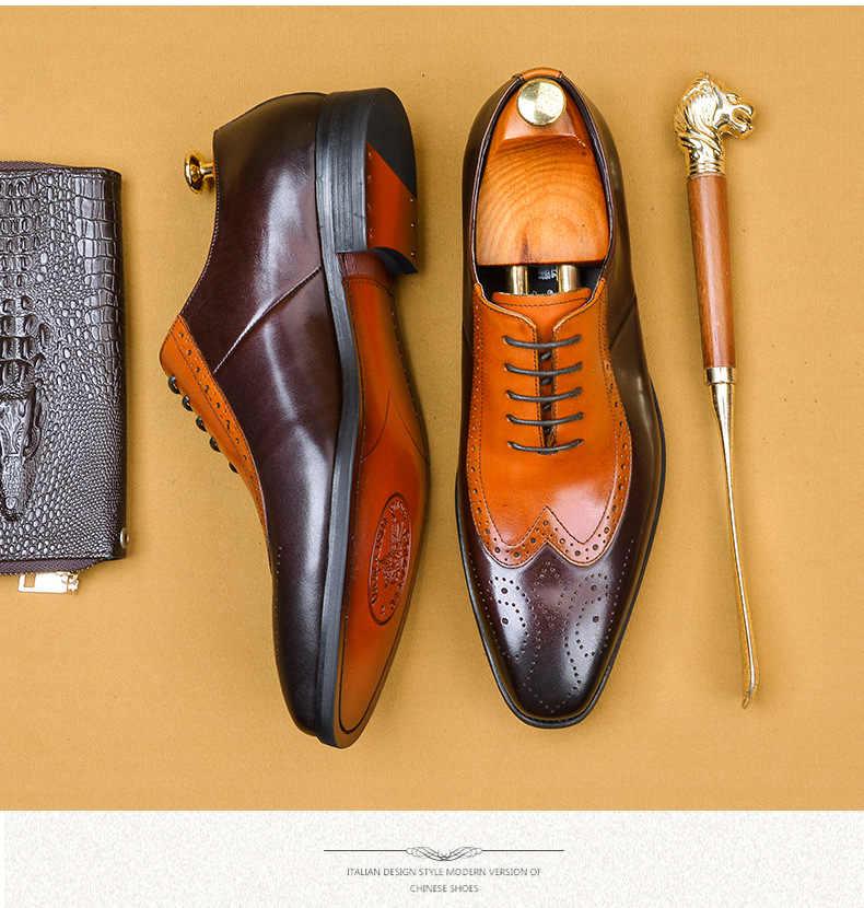 יוקרה בריטי סגנון גברים מבטא אירי נעלי אמיתי פרה עור לחתוך החוצה קצה כנף שרוכים גברים נעלי אוקספורד נעליים מעורב צבע עור נעליים