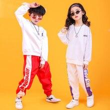 Çocuk Hip Hop giyim kazak üst koşu T gömlek Casual pantolon kızlar için Boys caz dans kostümü balo salonu dans kıyafetleri