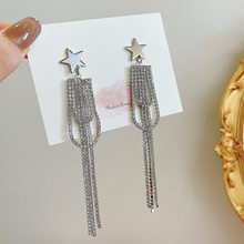 Elegante prata cor strass longo borla brincos para mulheres moda estrela chique festa jóias pendientes brincos presente c299