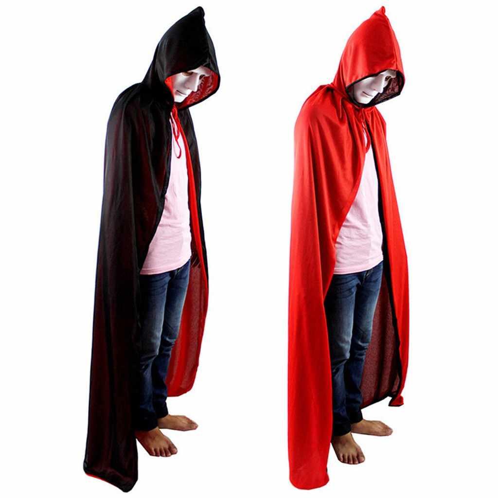 2019 ฮาโลวีนเครื่องแต่งกาย Unisex Cosplay Death Cape ยาว Hooded Cloak Wizard แม่มดยุคกลาง Cape สีดำสีแดง Cape # g4