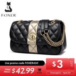 FOXER женская сумка-мессенджер на цепочке с бриллиантовой решеткой и клапаном, женские кожаные сумки на плечо высокого качества, подарок на де...