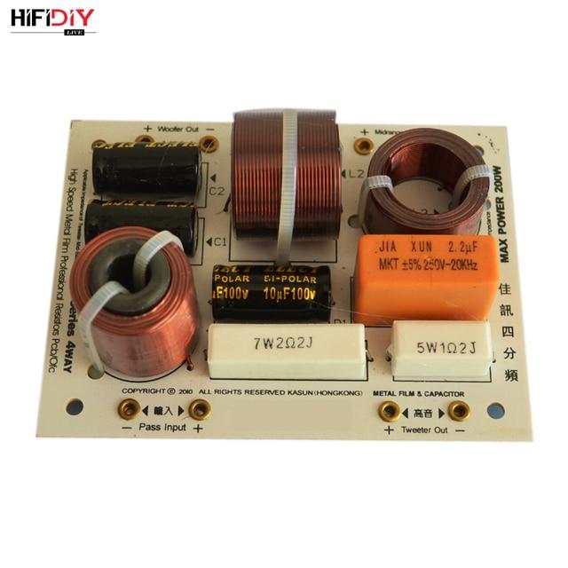 HIFIDIY L 480C en vivo de 3 vías, 4 altavoces, tweeter + mid + 2 * bass, HiFi, divisor de frecuencia de audio, filtros cruzados