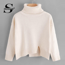 Sheinside Casual High Neck Sweater Women 2019 Autumn Front Slit Detail Crop Sweaters Ladies Beige Minimalist Dip Hem Top(China)