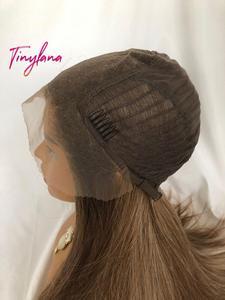 Image 5 - Küçük LANA uzun ipeksi düz kahverengi sarışın dantel ön peruk bebek saç ile ısıya dayanıklı 100% Futura sentetik peruk kadınlar için