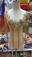 Totalmente feito à mão frisado franja colar laço artesanal tassle guarnição para casamento vestido de noiva/festa