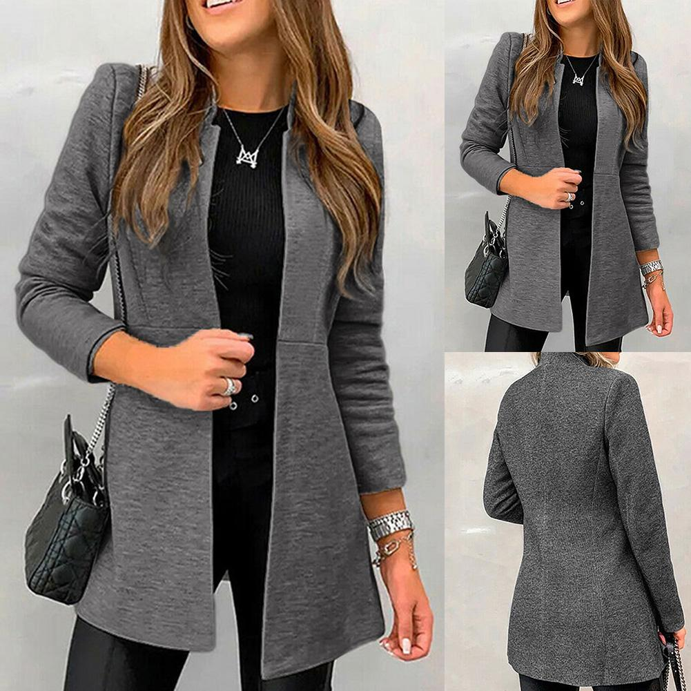 Office Lady Solid Color Long Sleeve Standing Collar Plus Size Blazer Jacket Ladies Jackets Casual Female Outerwear Suit Blazer