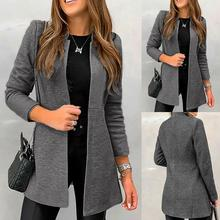 Office Lady Solid Color Long Sleeve Standing Collar Plus Size Blazer Jacket Ladi
