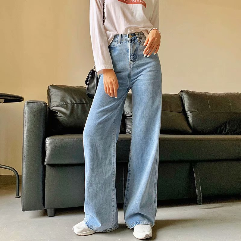Spring and Autumn new retro style high waist solid color wide leg jeans women street solid color slim straight jeans ladies