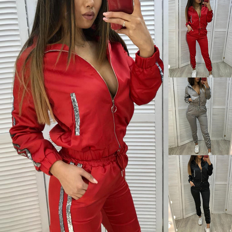 Women's Autumn Tracksuit 2 Piece Set Women Sports Sets Long Sleeve Sweatsuits Gym Fitness Casual Jogging Sweatpants Zipper Suit