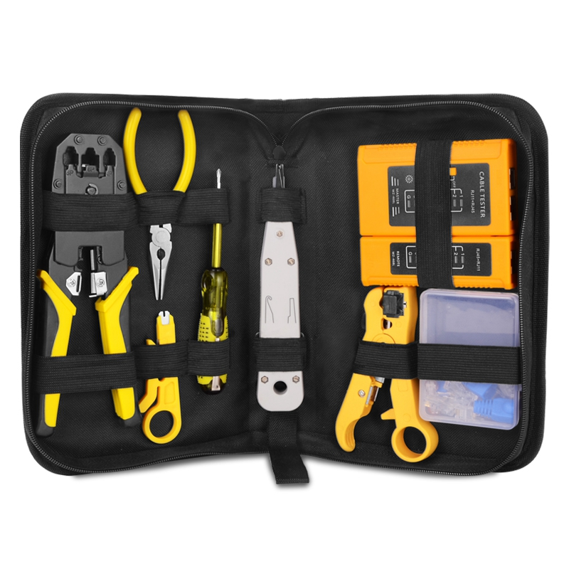 Network Repair Plier Tool Kit with Utp Cable Tester Spring Clamp Crimping Tool Crimping Pliers for Rj45 Rj11 Rj12