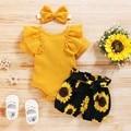 Летняя одежда для новорожденных девочек, комбинезон для новорожденных принцесс с оборками, цветочные шорты, повязка на голову с бантом, нар...