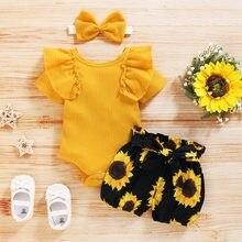 Ropa de verano para niñas recién nacidas, Pelele de princesa con volantes, pantalones cortos florales, Diadema con lazo, atuendo para niñas pequeñas