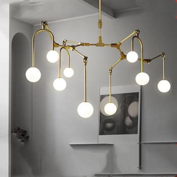 Candelabro de oro, barra de cocina, comedor, Led, Araña, bola de cristal, rama de árbol, lámpara, accesorios