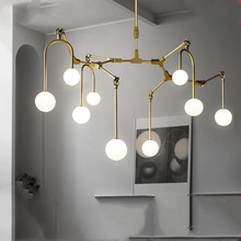 golden chandelier Kitchen Bar Dining room Led Salon spider molecule Glass Ball Tree Branch Chandelier lamp Fixtures