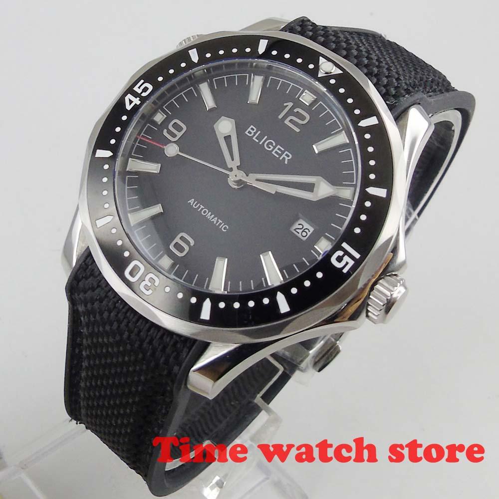 Luxury 41mm mechanical watch men waterproof blue black dial date rubber bracelet ceramic Bezel luminous sapphire japan Auto b350