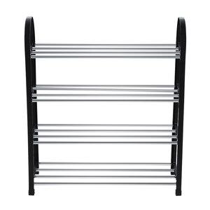 Nosii 3 Tiers/4 Tiers Plastic + Aluminum Metal Standing Shoe Rack DIY Shoes Storage Shelf Home Organizer