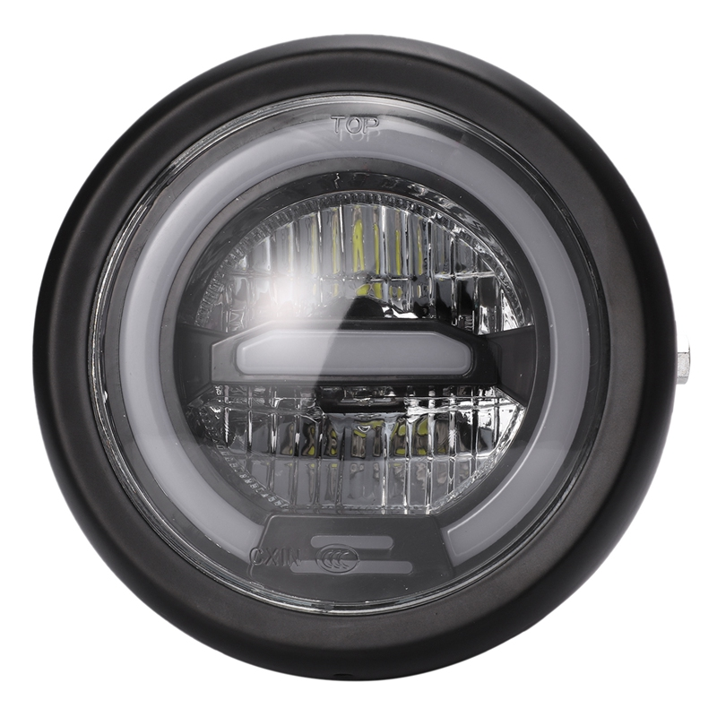 6.5 Inch Motorcycle Retro Black Metal LED Headlight Lamp Daytime Running Headlight For CG125 GN125 Honda