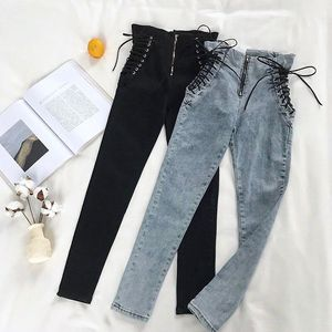 Black High Waist Hips Tight Jeans Female Sense Europe and The United States 2020 Spring and Summer Slim Feet Pants Nine Pants