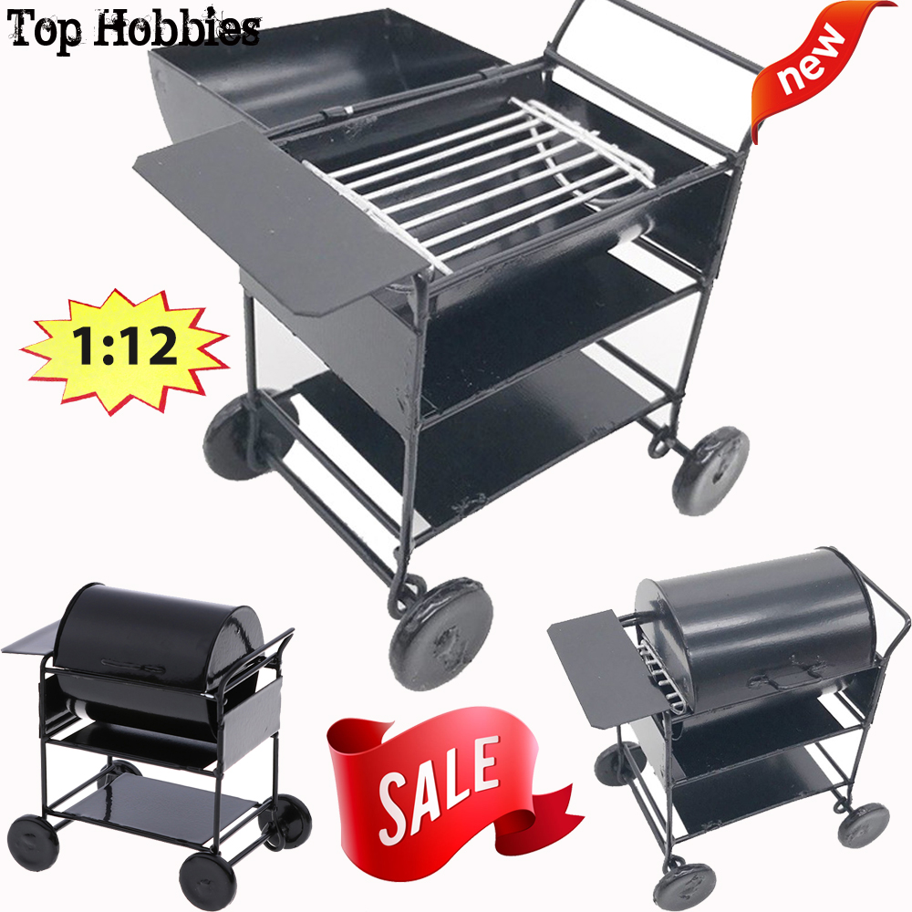 Hot Sale 1/12 Scale Mini Cute Barbecue Grill Doll House Ornaments Miniature Kitchen Gadgets stove picnic BBQ tool Food Furniture