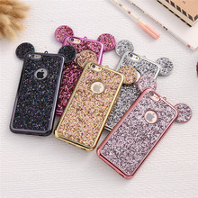 BlingBling Cartoon 3D Cute Mouse Ear Silicone Soft cover for iphone MAX XS XR 7 8plus X for Samsung S8 9 10Lite back case(China)