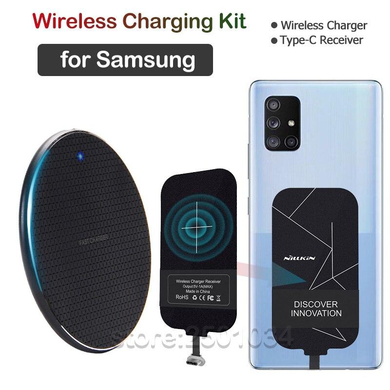 Qi Беспроводная зарядка для Samsung Galaxy A21 A31 A41 A51 A71 Note10 Lite S10 Lite Беспроводное зарядное устройство + приемник USBC