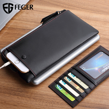 FEGER top grain buffalo leather black clutch wallet urban man clutch bag fetal calves grain