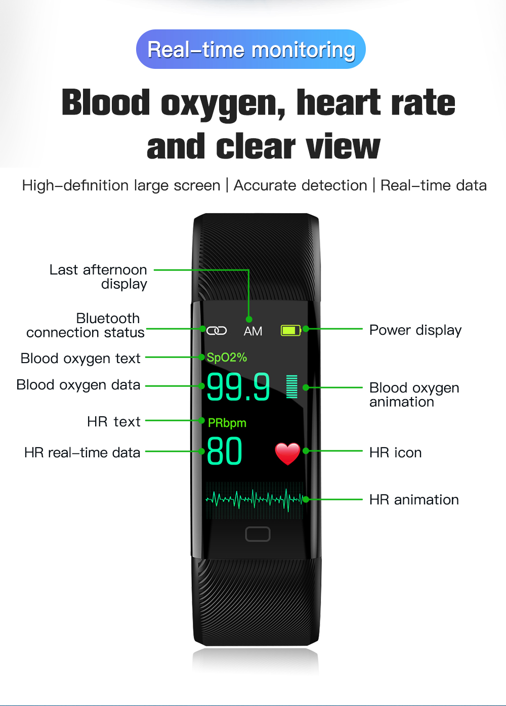 Smart watch Fitness Trackers Heart Rate Monitor Pulse Oximeter thermometer blood pressure smart bracelet for iPhone Xiaomi 4