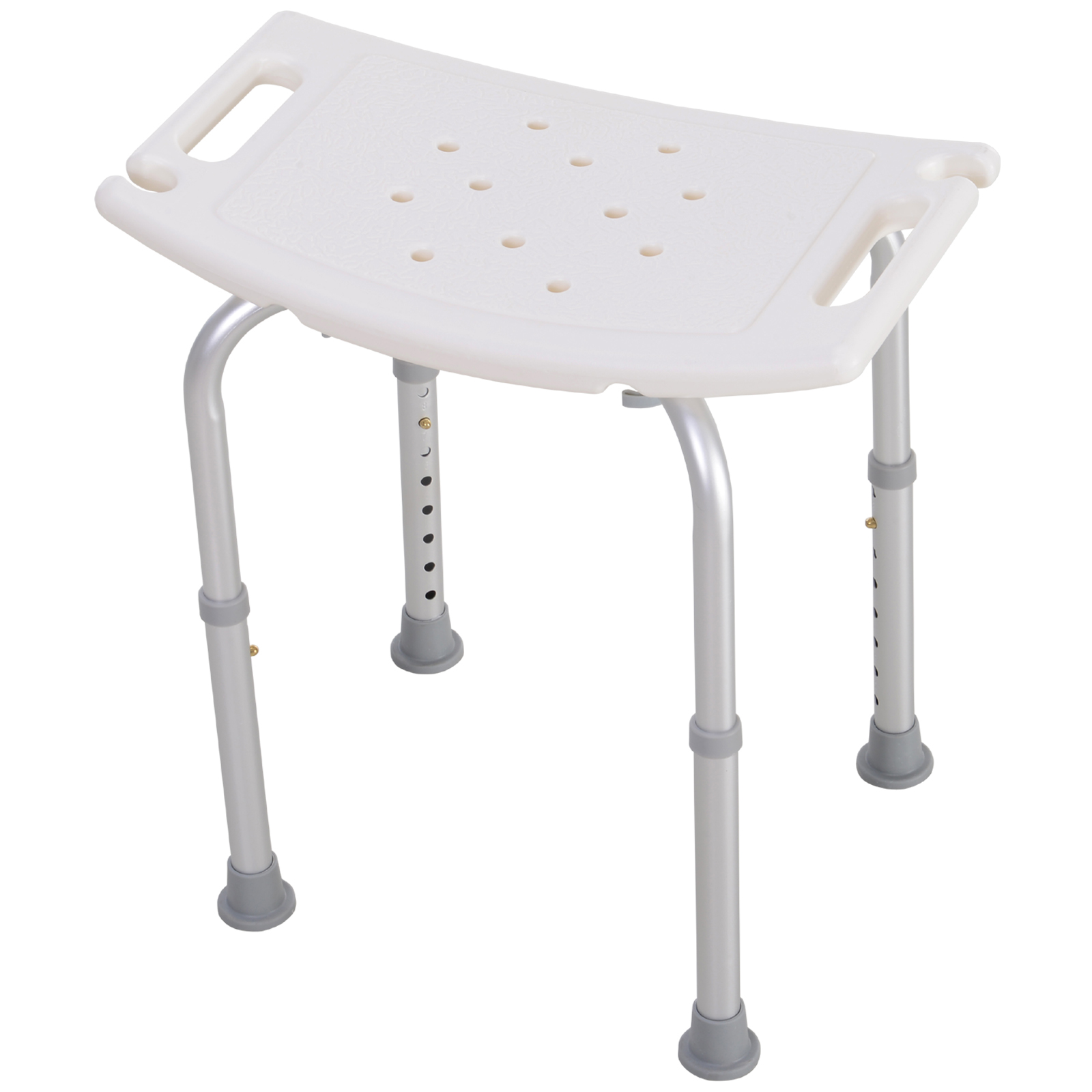 HOMCOM Stool Shower Seat Bathroom Slip-Resistant Adjustable Height 39.5-56.5 Cm
