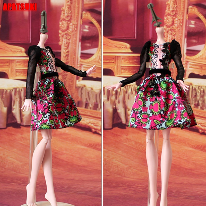 Black Lace Floral Women Dress For Demon Monster Doll Clothes For Ever After High Doll Party Dresses 1/6 Doll Accessories Kid Toy