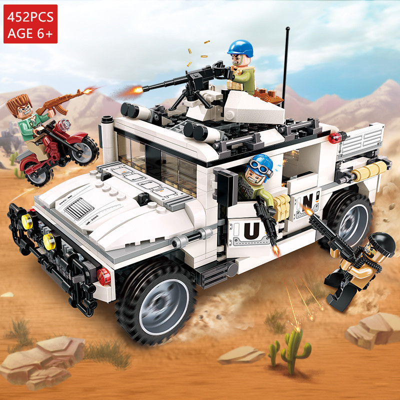 Qihui 8014 RC militaire voiture Bloc de construction véhicule avec RC 2,4 GHz LEGO ® Compatible