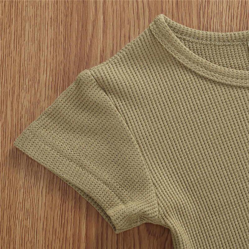 2020 marka erkek bebek kız nervürlü yaz giysileri bebek bebek kız giysileri setleri katı renk kısa kollu T shirt Tops + şort 2 adet