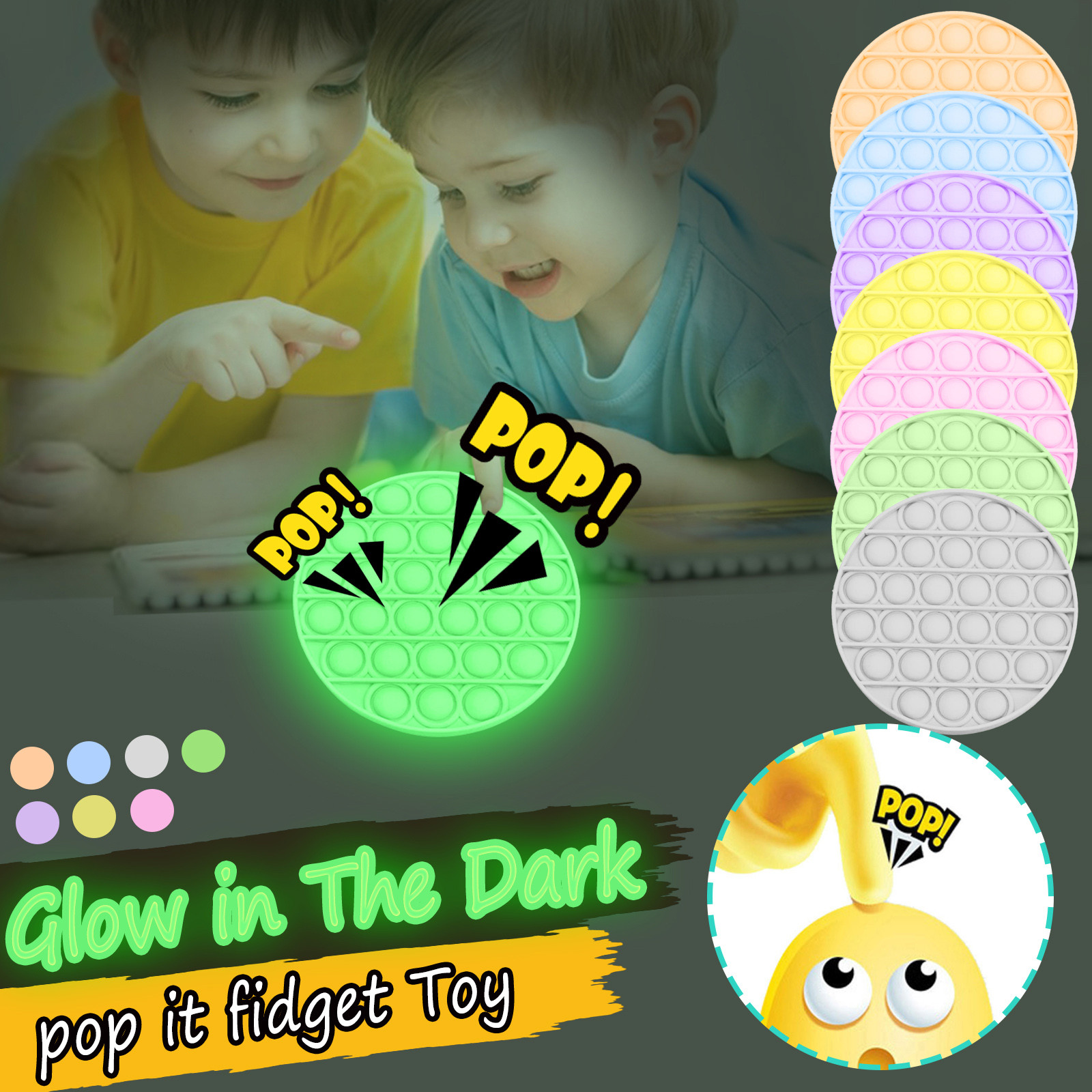 Anti-Stress Toys Bubble Squishy Funny Kids Gift Adult Silicone Luminous-Push Fashion