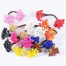 25Pcs/50 Cabeça 0.5 Centímetros Cabeças Dobro Baga Estame Flor Artificial Para O Casamento Casa Decoração Do Partido Coroa de Flores Diy artesanato Flor Falsificada