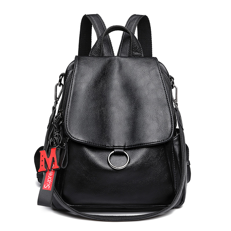 NEW Genuine Leather Women's Backpacks Black Color Litchi Pattern First Layer Cow Leather Female School Backpack Cowhide Bags