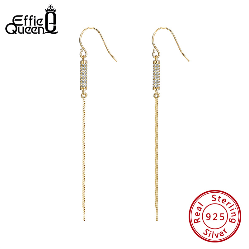 Effie Queen <font><b>Elegant</b></font> Women <font><b>Drop</b></font> <font><b>Earring</b></font> 925 Silver <font><b>Gold</b></font> Color Lady <font><b>Earrings</b></font> with AAAA Zircon <font><b>Jewelry</b></font> Wedding Party Gift BE287 image