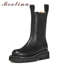 Meotina Chelsea Boots Women Shoes Real Leather Platform High Heel Mid-Calf Boots Round Toe Thick Heels Lady Boots Autumn Winter цена 2017