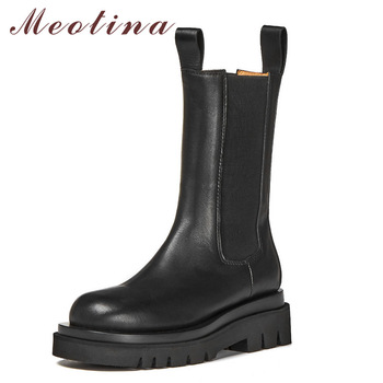 Meotina Chelsea Boots Women Shoes Real Leather Platform High Heel Mid-Calf Boots Round Toe Thick Heels Lady Boots Autumn Winter haraval handmade winter woman long boots luxury flock round toe soft heel shoes elegant casual warm retro buckle solid boots 289