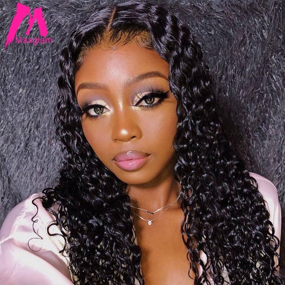 Brésilien bouclés sans colle dentelle avant perruques de cheveux humains pour les femmes noires pré-plumé court Long naturel Afro Remy perruque de cheveux